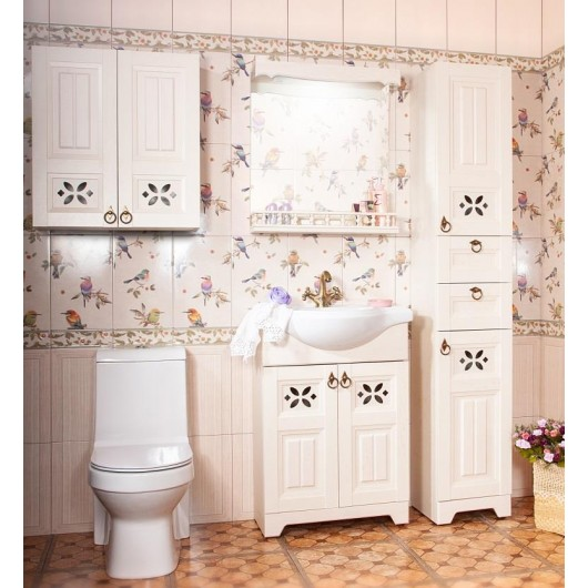 Комплект мебели Бриклаер Кантри 65 Бежевый дуб прованс (зеркало с балюстрадой)