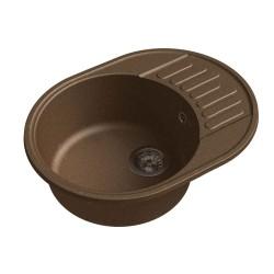 Мойка кухонная Raiber Таумус RQ34 круглая с крылом, шоколад