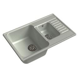 Мойка кухонная Raiber Судеты RQ377 прямоугольная с крылом и двумя чашами, бетон