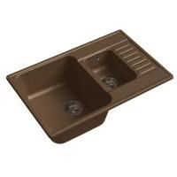 Мойка кухонная Raiber Судеты RQ377 прямоугольная с крылом и двумя чашами, шоколад