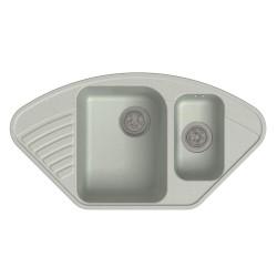 Мойка кухонная Raiber Айфель RQ987 с двумя чашами и крылом, бетон