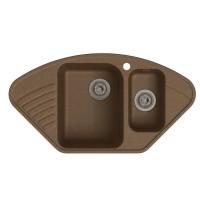 Мойка кухонная Raiber Айфель RQ987 с двумя чашами и крылом, шоколад