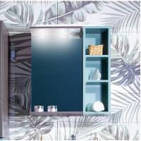Зеркало Бриклаер Кристалл 60, ясень анкор темный со шкафчиком