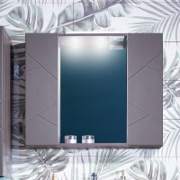 Зеркало Бриклаер Кристалл 80, софт графит с двумя шкафчиками