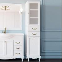 Шкаф-пенал ValenHouse Эллина 40 R с бельевой корзиной, белый, фурнитура бронза