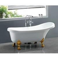 Акриловая ванна Ceruttispa C-2014-1 на львиных алюминиевых золотых лапах 1500x750x730