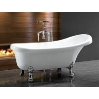 Акриловая ванна Ceruttispa C-2014 на львиных алюминиевых хромированных лапах 1500x750x730