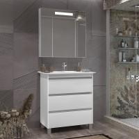 Комплект мебели Opadiris Фреш 80 напольная белая