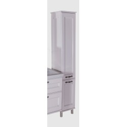 Шкаф-пенал ASB-Woodline Прато белый, патина серебро