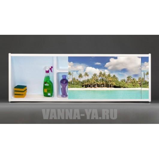 Фото экран под ванну раздвижной с полочкой Francesca Premium 1.5,1.7,1.8 Пляж (Антискользящее Основание)