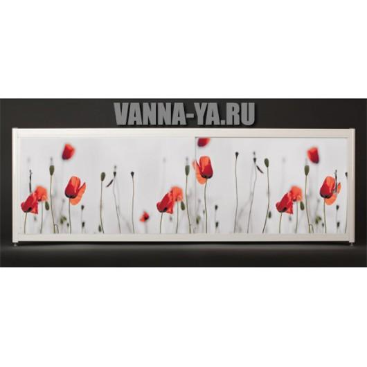 Экран под ванну Francesca Elite Красные маки 140-180 см (Антискользящее Основание)