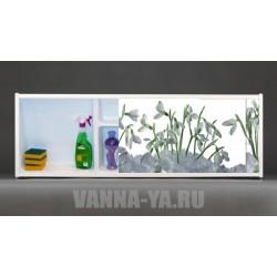 Фото экран под ванну раздвижной с полочкой Francesca Premium 1.5,1.7,1.8 Подснежники (Антискользящее Основание)
