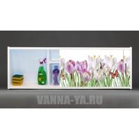 Фото экран под ванну раздвижной с полочкой Francesca Premium 1.5,1.7,1.8 Нежные краски (Антискользящее Основание)
