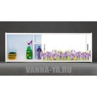 Фото экран под ванну раздвижной с полочкой Francesca Premium 1.5,1.7,1.8 Полевые цветы (Антискользящее Основание)