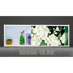 Фото экран под ванну раздвижной с полочкой Francesca Premium 1.5,1.7,1.8 Цветение (Антискользящее Основание)