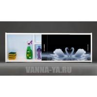 Фото экран под ванну раздвижной с полочкой Francesca Premium 1.5,1.7,1.8 Лебеди на воде (Антискользящее Основание)