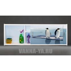 Фото экран под ванну раздвижной с полочкой Francesca Premium 1.5,1.7,1.8 Пингвины на льдине (Антискользящее Основание)