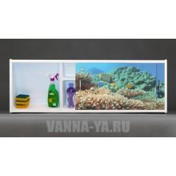 Фото экран под ванну раздвижной с полочкой Francesca Premium 1.5,1.7,1.8 Подводный мир 148,168,178 см (Антискользящее Основание)