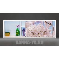 Фото экран под ванну раздвижной с полочкой Francesca Premium 1.5,1.7,1.8 Цветущий сад (Антискользящее Основание)