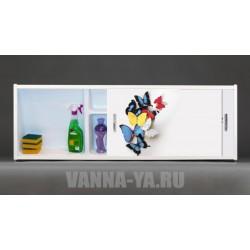 Фото экран под ванну раздвижной с полочкой Francesca Premium 1.5,1.7,1.8 Бабочки (Антискользящее Основание)