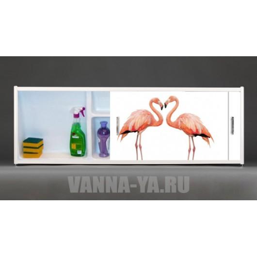 Фото экран под ванну раздвижной с полочкой Francesca Premium 1.5,1.7,1.8 Фламинго (Антискользящее Основание)