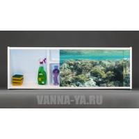 Фото экран под ванну раздвижной с полочкой Francesca Premium 1.5,1.7,1.8 Коралловые Рифы (Антискользящее Основание)