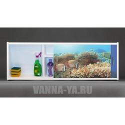 Фото экран под ванну раздвижной с полочкой Francesca Premium 1.5,1.7,1.8 Морское дно (Антискользящее Основание)