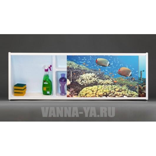 Фото экран под ванну раздвижной с полочкой Francesca Premium 1.5,1.7,1.8 Полёт черепахи (Антискользящее Основание)