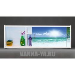 Фото экран под ванну раздвижной с полочкой Francesca Premium 1.5,1.7,1.8 Гавайское утро (Антискользящее Основание)