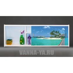 Фото экран под ванну раздвижной с полочкой Francesca Premium 1.5,1.7,1.8 Сейшелы (Антискользящее Основание)