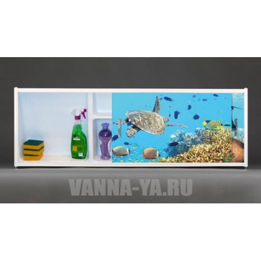 Фото экран под ванну раздвижной с полочкой Francesca Premium 1.5,1.7,1.8 Обитатели глубин (Антискользящее Основание)