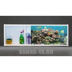 Фото экран под ванну раздвижной с полочкой Francesca Premium 1.5,1.7,1.8 Подводное царство