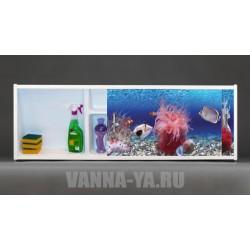 Фото экран под ванну раздвижной с полочкой Francesca Premium 1.5,1.7,1.8 Красота моря 148,168,178 см (Антискользящее Основание)