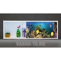 Фото экран под ванну раздвижной с полочкой Francesca Premium 1.5,1.7,1.8 Морские краски (Антискользящее Основание)