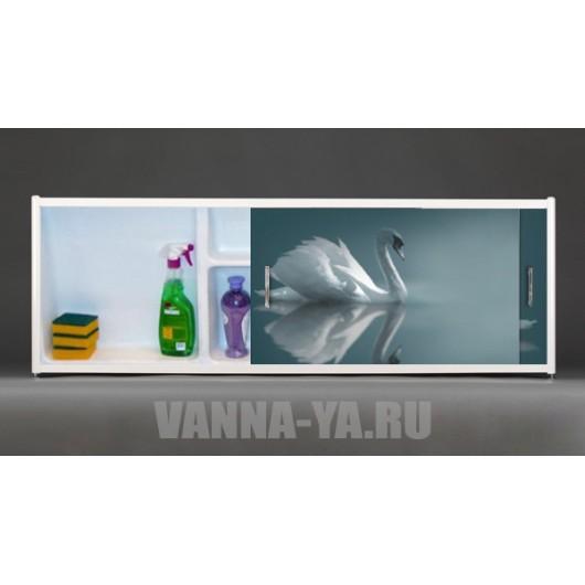 Фото экран под ванну раздвижной с полочкой Francesca Premium 1.5,1.7,1.8 Лебеди фото (Антискользящее Основание)