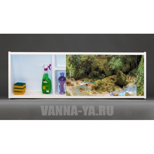Фото экран под ванну раздвижной с полочкой Francesca Premium 1.5,1.7,1.8 Водопад в лесу фото (Антискользящее Основание