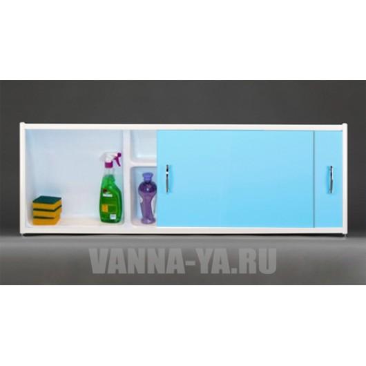 Экран под ванну раздвижной с полочкой Francesca Premium 1.5,1.7,1.8 голубой (Антискользящее Основание)