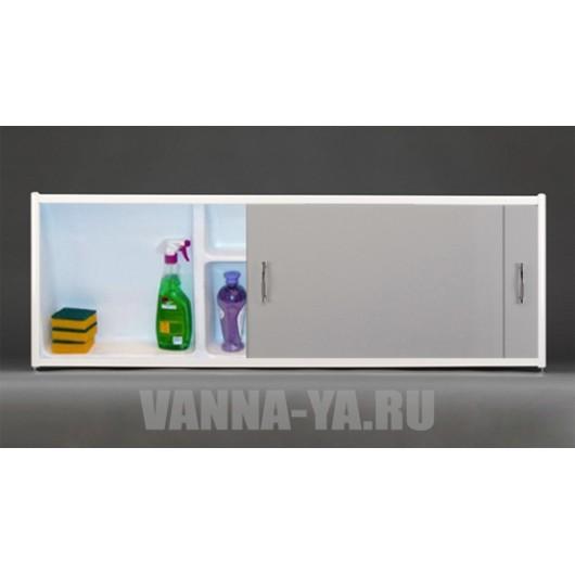 Экран под ванну раздвижной с полочкой Francesca Premium 1.5,1.7,1.8 серый (Антискользящее Основание)