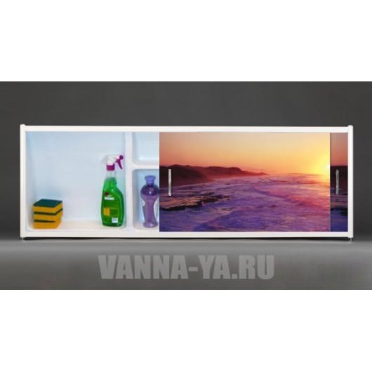 Фото экран под ванну раздвижной с полочкой Francesca Premium 1.5,1.7,1.8 Закат (Антискользящее Основание)