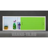 Экран под ванну раздвижной с полочкой Francesca Premium 1.5,1.7,1.8 салатовый (Антискользящее Основание)
