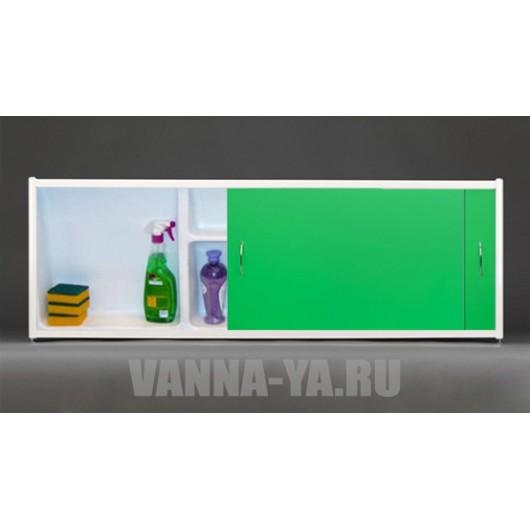 Экран под ванну раздвижной с полочкой Francesca Premium 1.5,1.7,1.8 зелёный (Антискользящее Основание)