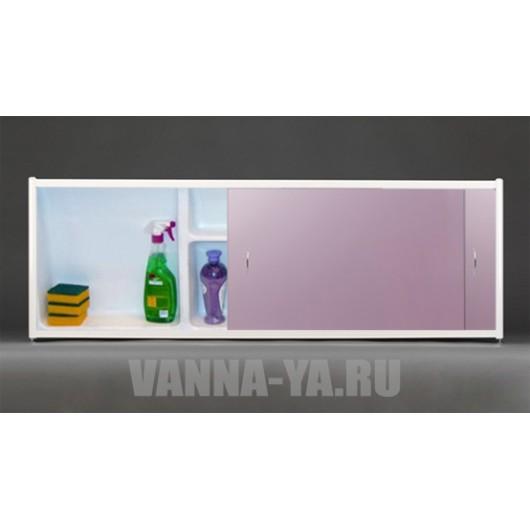Экран под ванну раздвижной с полочкой Francesca Premium 1.5,1.7,1.8 розовый металик (Антискользящее Основание)