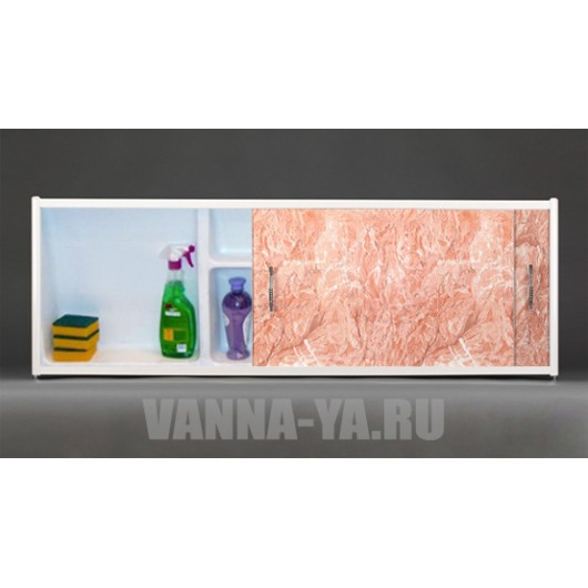 Экран под ванну раздвижной с полочкой Francesca Premium 1.5,1.7,1.8 тёмнорозовый мрамор (Антискользящее Основание)
