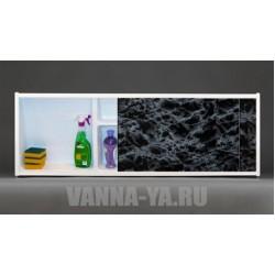 Экран под ванну раздвижной с полочкой Francesca Premium 1.5,1.7,1.8 чёрный мрамор (Антискользящее Основание)