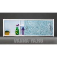 Экран под ванну раздвижной с полочкой Francesca Premium 1.5,1.7,1.8 голубой мрамор (Антискользящее Основание)