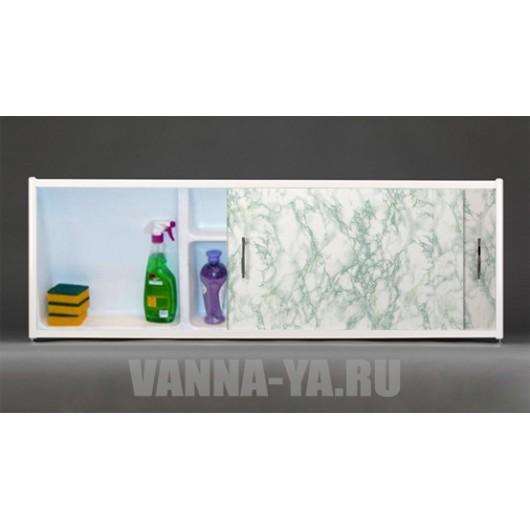 Экран под ванну раздвижной с полочкой Francesca Premium 1.5,1.7,1.8 салатовый мрамор (Антискользящее Основание)
