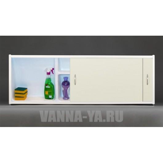 Экран под ванну раздвижной с полочкой Francesca Premium 1.5,1.7,1.8 кремовый (Антискользящее Основание)