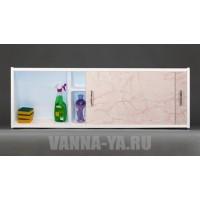 Экран под ванну раздвижной с полочкой Francesca Premium 1.5,1.7,1.8 светлорозовый мрамор (Антискользящее Основание)