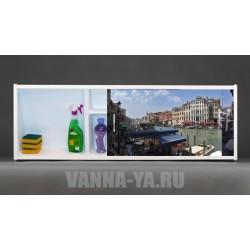 Фото-экран под ванну раздвижной с полочкой Francesca Premium 1.5,1.7,1.8 Город на воде (Антискользящее Основание)