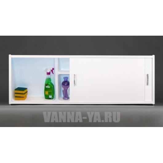 Экран под ванну раздвижной с полочками Francesca Premium 1.5/1.7 белый (Антискользящее Основание)